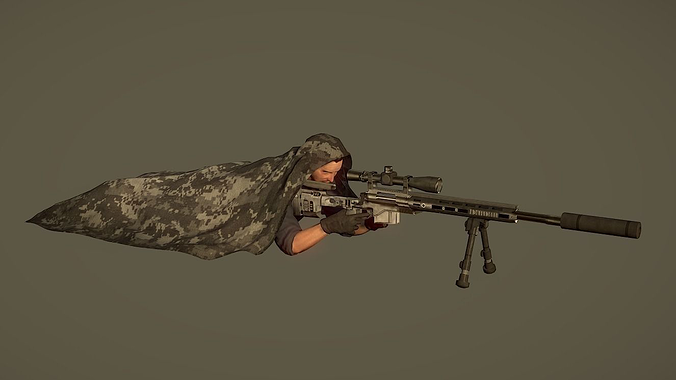 lowpoly sniper character with rifle 3d model low-poly max obj mtl fbx ma mb 1