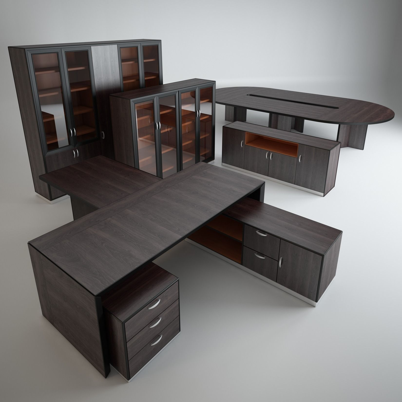 A Set Of Office Furniture Model Max Fbx 1