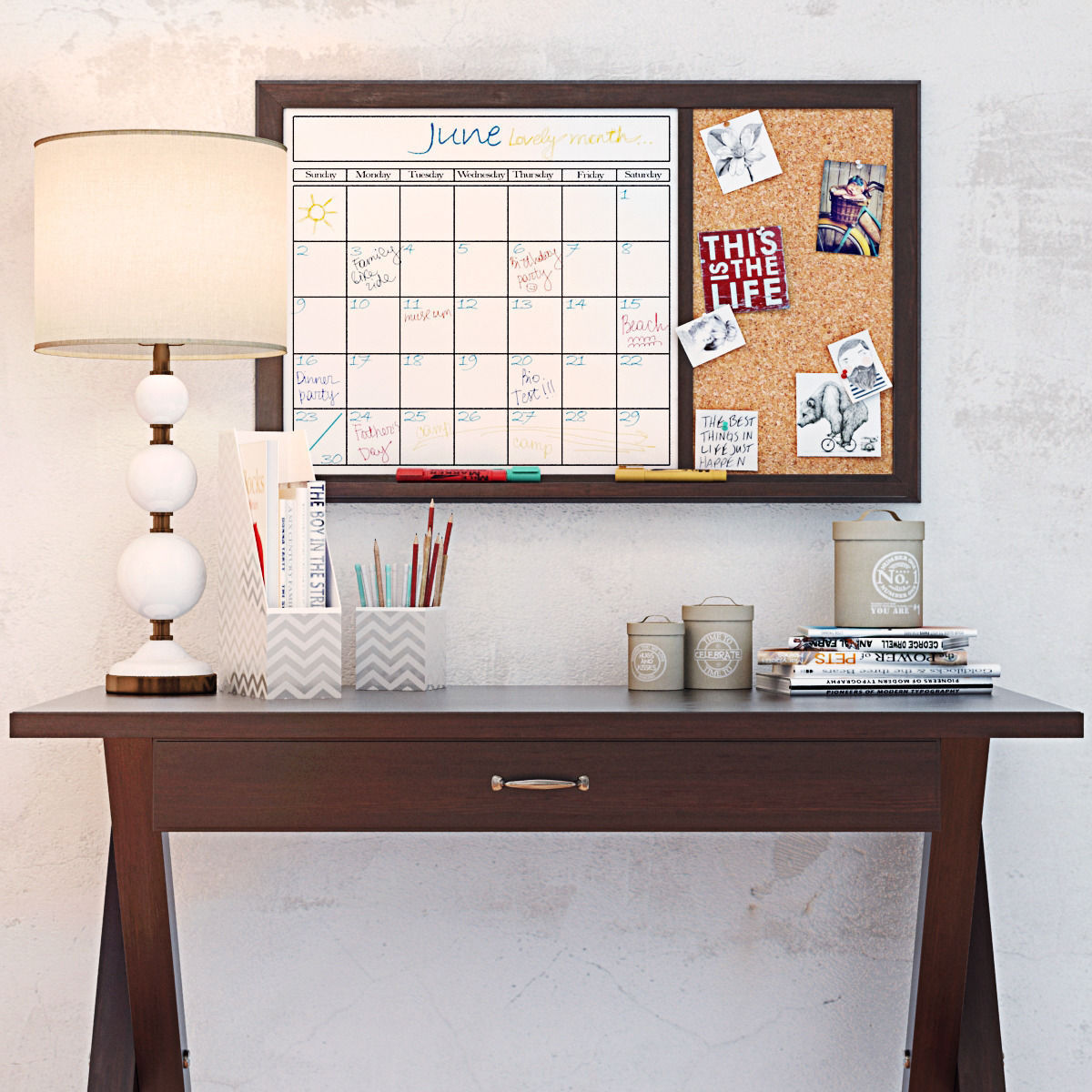 Pbteen X Frame Desk With Decor Set 3d Model Max Obj Mtl 3