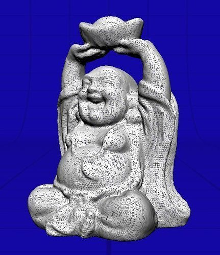 D model small stone carved buddha vr ar low poly obj