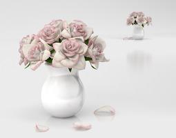 3d model roses bouquet