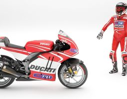 ducati with rider 3d model rigged max obj fbx dae