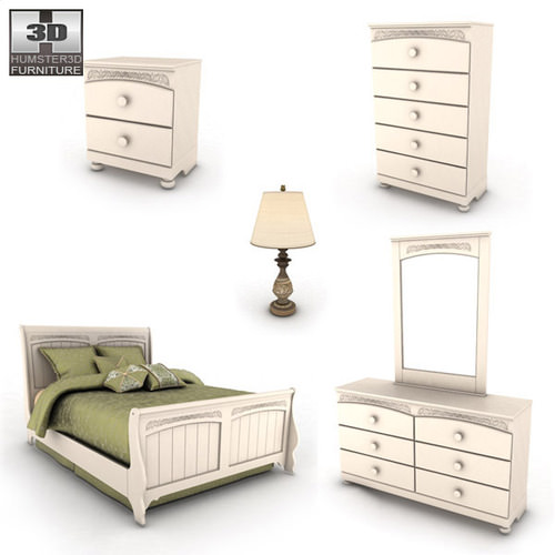 3d Model Ashley Cottage Retreat Sleigh Bedroom Set Vr Ar Low Poly Max Obj 3ds Fbx C4d Lwo Lw