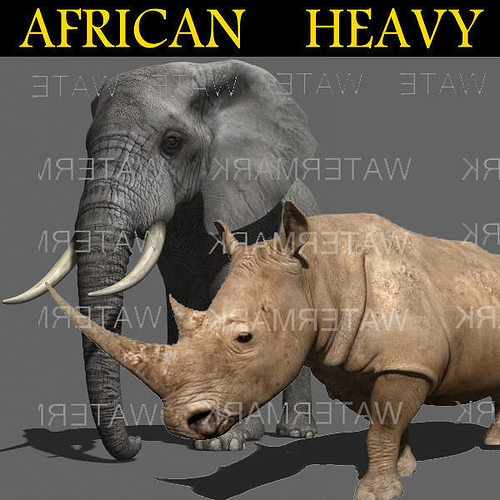 african heavy pack - 3d model 3d model rigged animated max obj mtl fbx 1