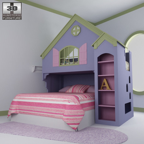 bedroom in small space 3d model nursery room 05 set vr ar low poly max obj 14330