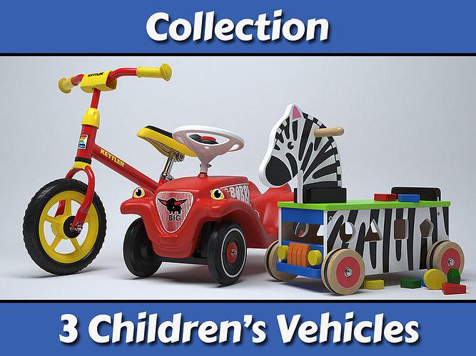 childrens vehicles collection 3d model max obj fbx 1
