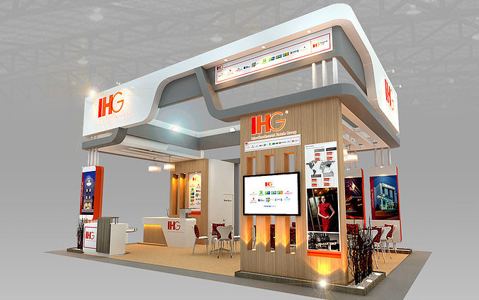 Exhibition Stand Designer Job Description : Ihg hotel booth design d model cgtrader
