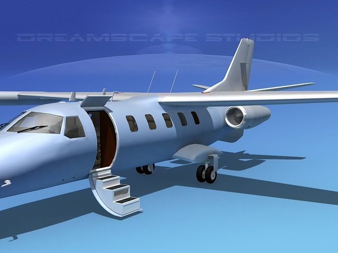dreamscape at-48 jet executive bare metal 3d model animated max obj 3ds lwo lw lws dxf stl 1