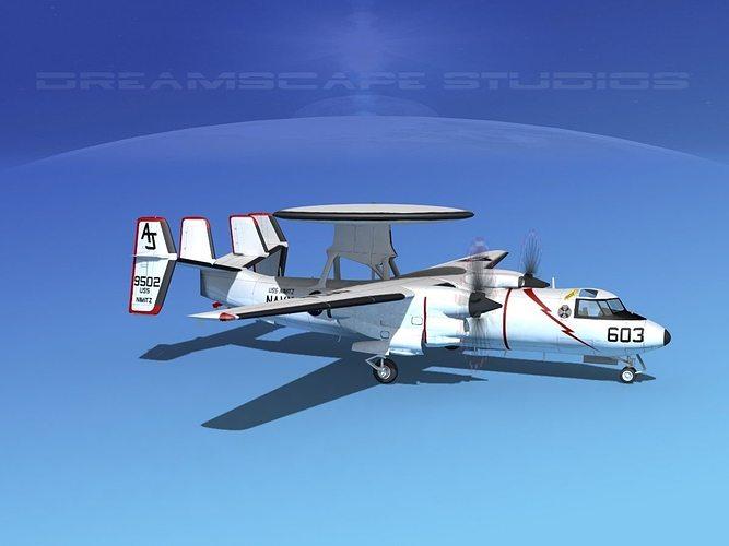 grumman e-2c hawkeye v03 3d model animated max obj mtl 3ds lwo lw lws dxf stl 1