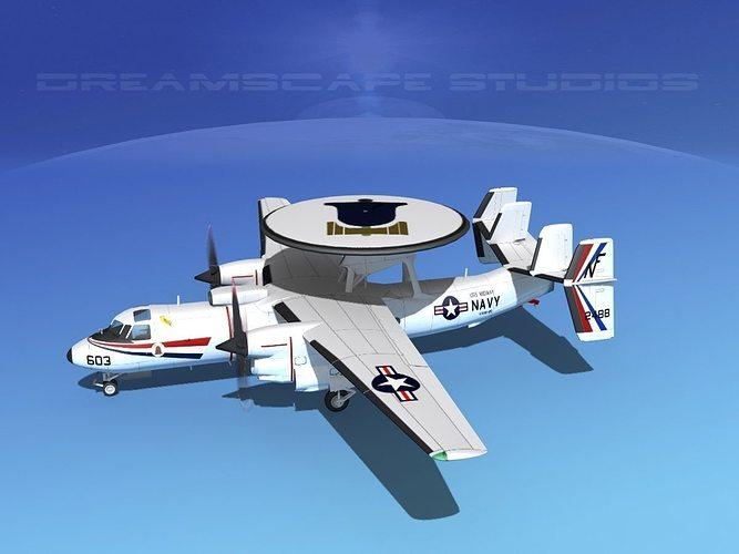 grumman e-2c hawkeye v12 3d model animated max obj mtl 3ds lwo lw lws dxf stl 1