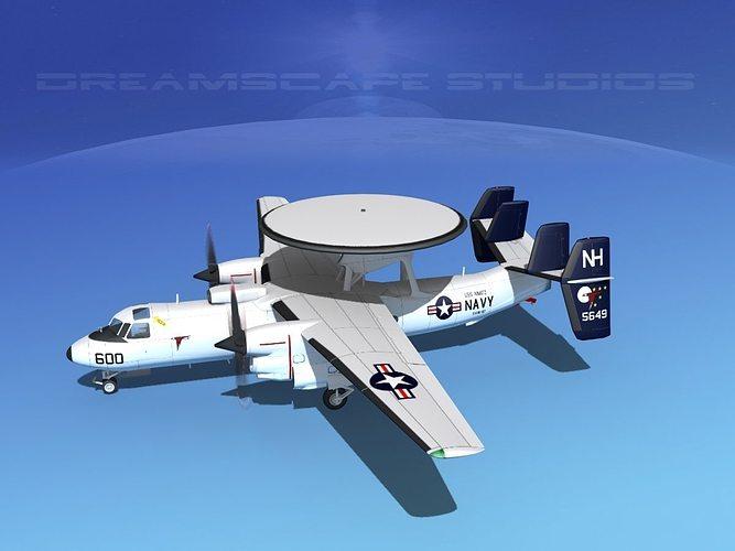 grumman e-2c hawkeye v14 3d model animated max obj mtl 3ds lwo lw lws dxf stl 1