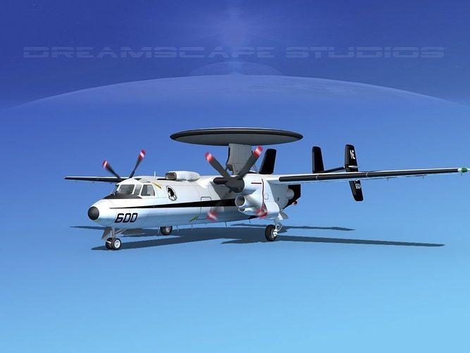 grumman e-2c hawkeye v15 3d model animated max obj mtl 3ds lwo lw lws dxf stl 1