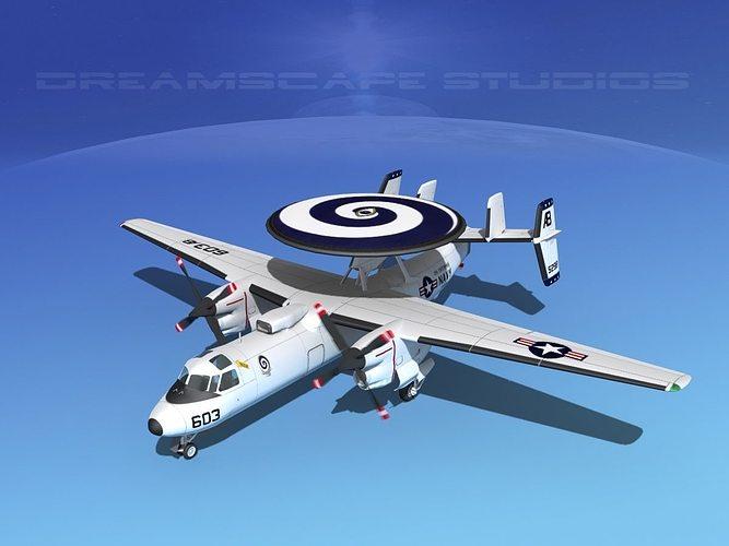 grumman e-2c hawkeye v17 3d model animated max obj mtl 3ds lwo lw lws dxf stl 1