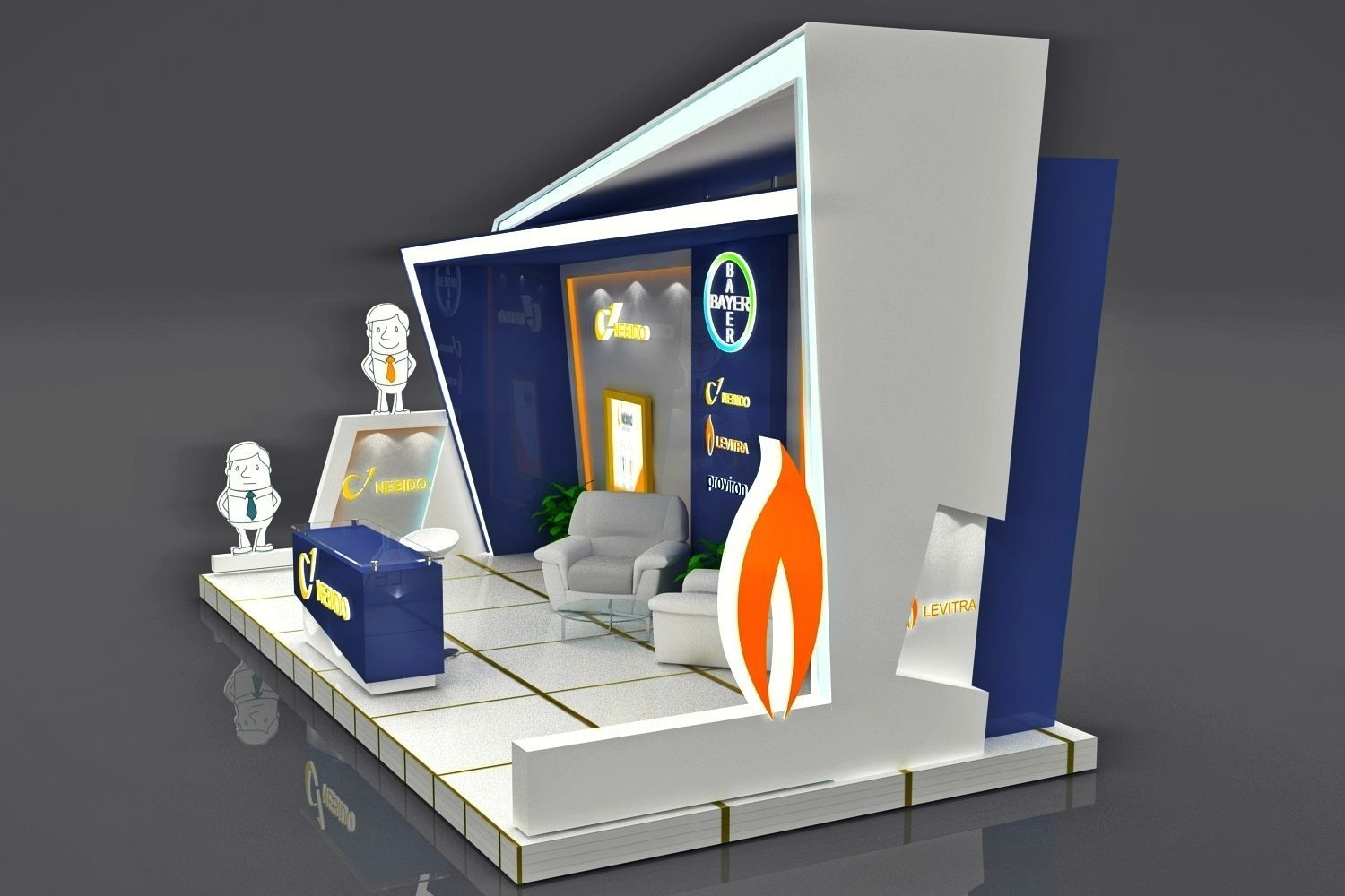 D Max Exhibition Models : Exhibition booth d model rigged max obj cgtrader