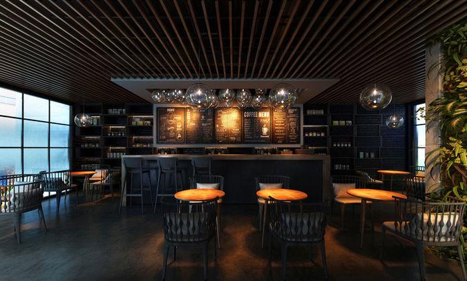 3d mini restaurant cgtrader for Restaurant 3d max