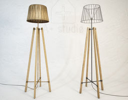 3D model Wood Wire Floor Lamp