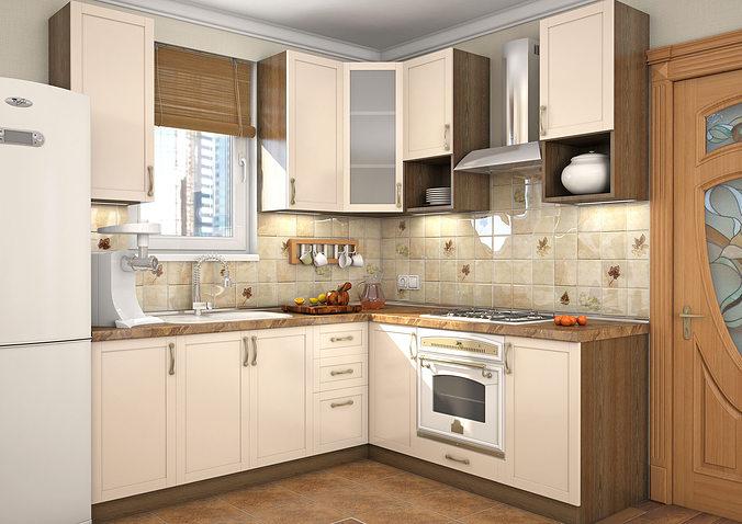Kitchen Milano 3D model | CGTrader on Model Kitchen Photo  id=43276