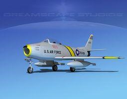 3d north american f-86 sabre jet v02 usaf rigged