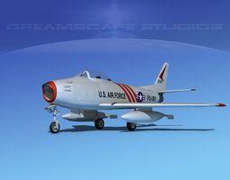 3d rigged north american f-86 sabre jet v05 usaf