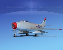 rigged 3d north american f-86 sabre jet v09 nev ang