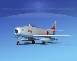 3d north american f-86 sabre jet jadf  rigged