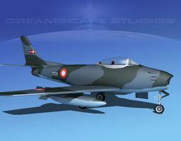 rigged 3d model north american f-86 sabre jet denmark