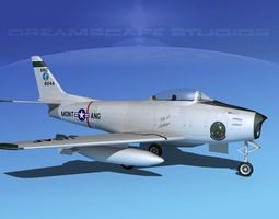 3d rigged north american f-86 sabre jet montana ang