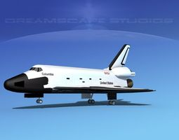 3d model sts shuttle columbia landing lp 1-3 rigged