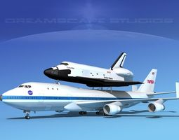 sts space shuttle columbia transport mp 2-2 747  3d model rigged