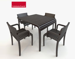 3d table with chairs outdoor set