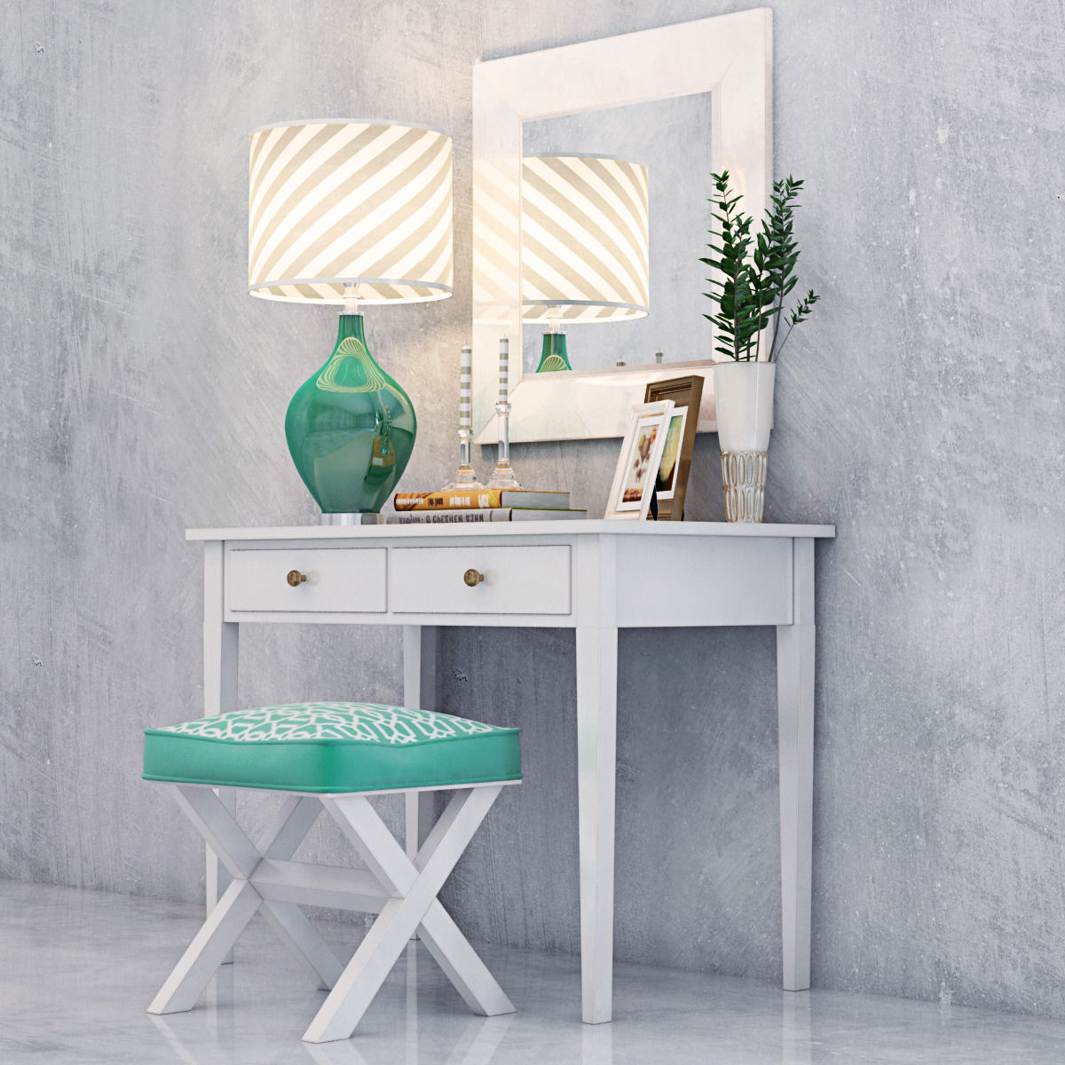 Modern vanity dressing table with decorative set 3d model max obj mtl modern vanity dressing table with decorative set 3d model max obj mtl 2 geotapseo Images