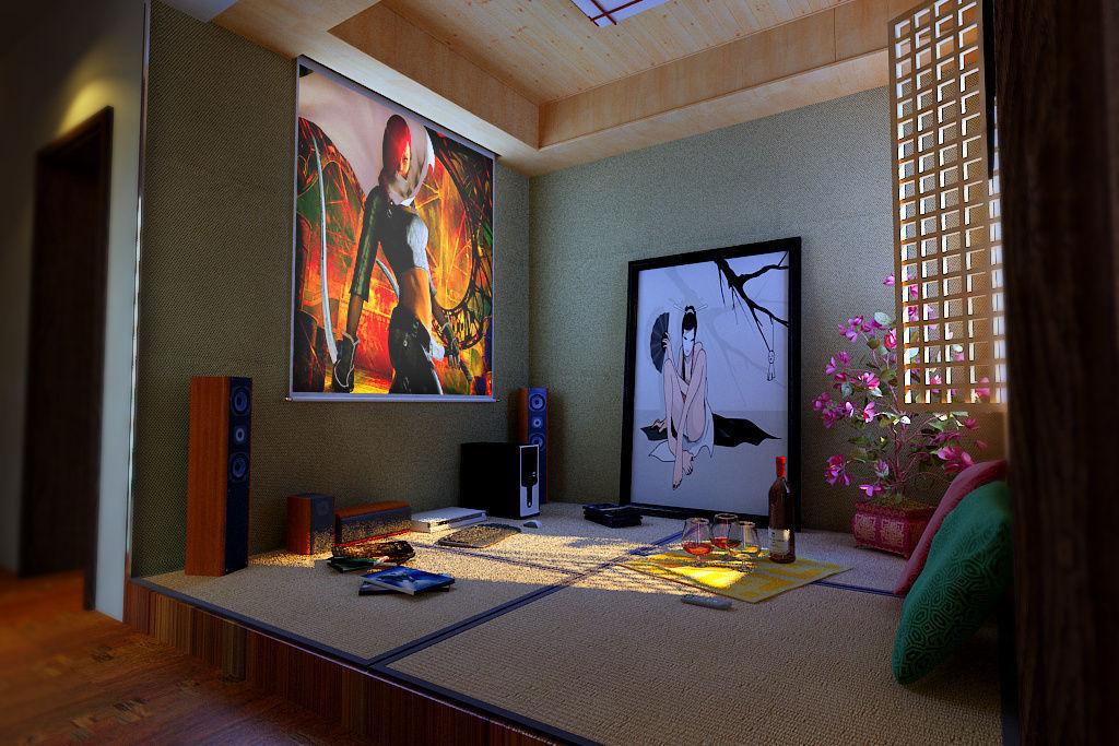 Realistic Living Room Design 09 3d Model Max