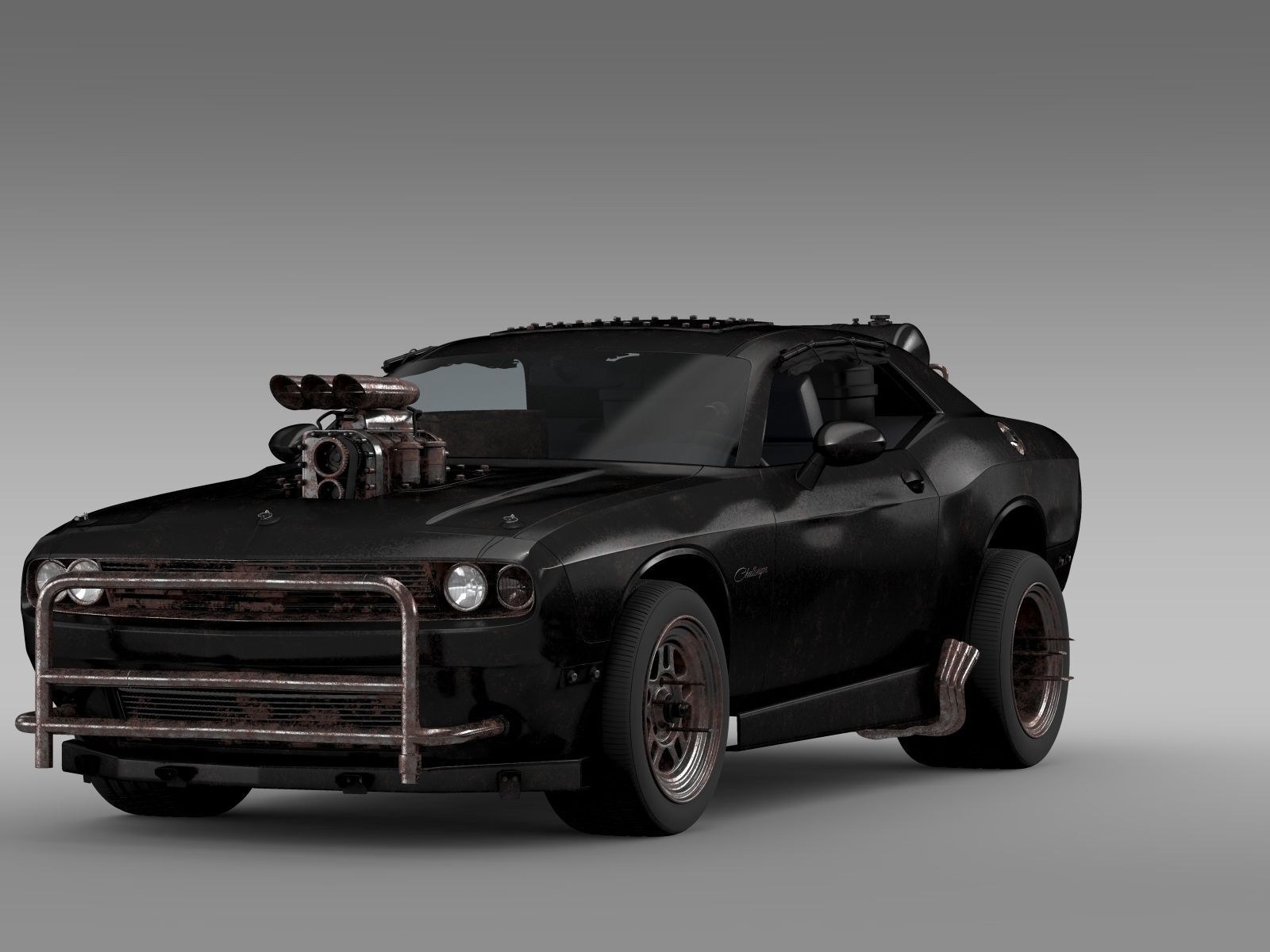 Mad Max Dodge Challenger >> Mad Max Fight Interceptor Dodge Challenger 2015 3d Model Max Obj Mtl