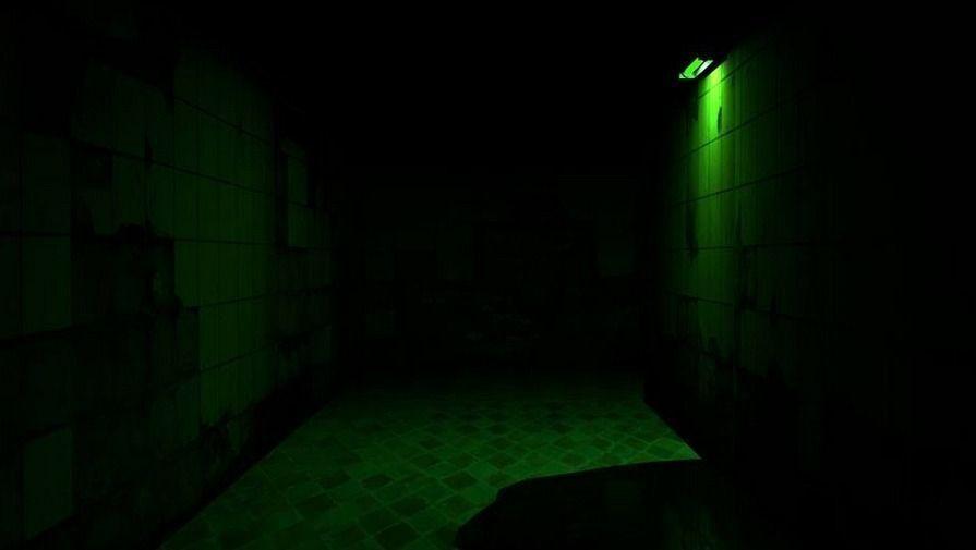 Dark Green Hallway