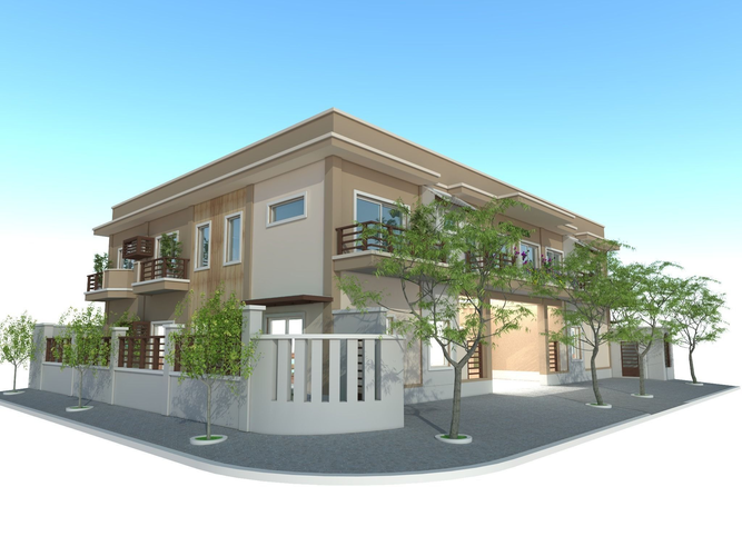 Guesthouse exterior 3d model skp for Exterior 3d model