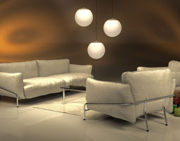 continental sofa and chair 3D model
