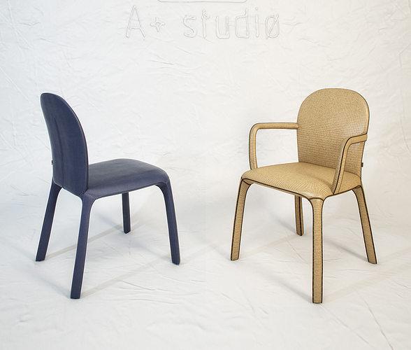 poltrona frau amelie chair by claudio bellini 3d model max obj fbx mtl unitypackage 1