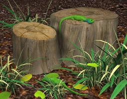 3d model green lizards