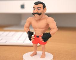 3d printable model miniature of boxing champion