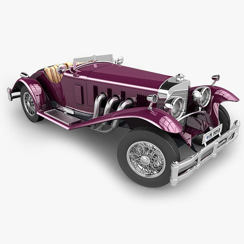 mercedes ssk with engine 3d model obj 3ds fbx c4d 1