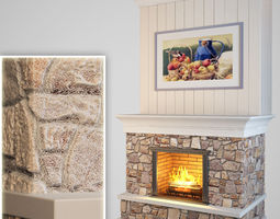 fireplace 3d model game-ready