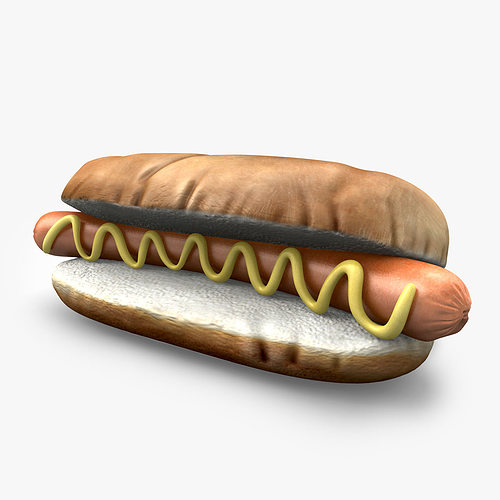 hotdog with mustard 3d model obj mtl 3ds fbx c4d pdf 1