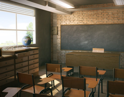 3d model class room school