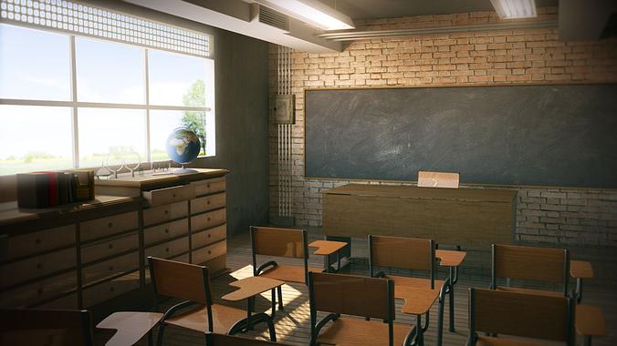 Class Room School 48D Model CGTrader Fascinating Universities With Interior Design Programs Model