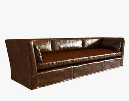 3d model restoration hardware belgian shelter arm leather sofa