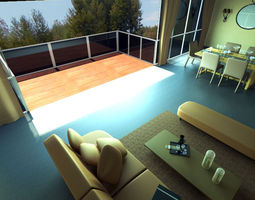 Modern Living And Dining 1 3D Model