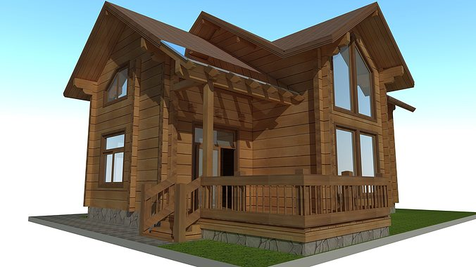 3d model wood house exterior cgtrader for Model home exterior photos