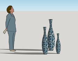 square curvy vases 3d model
