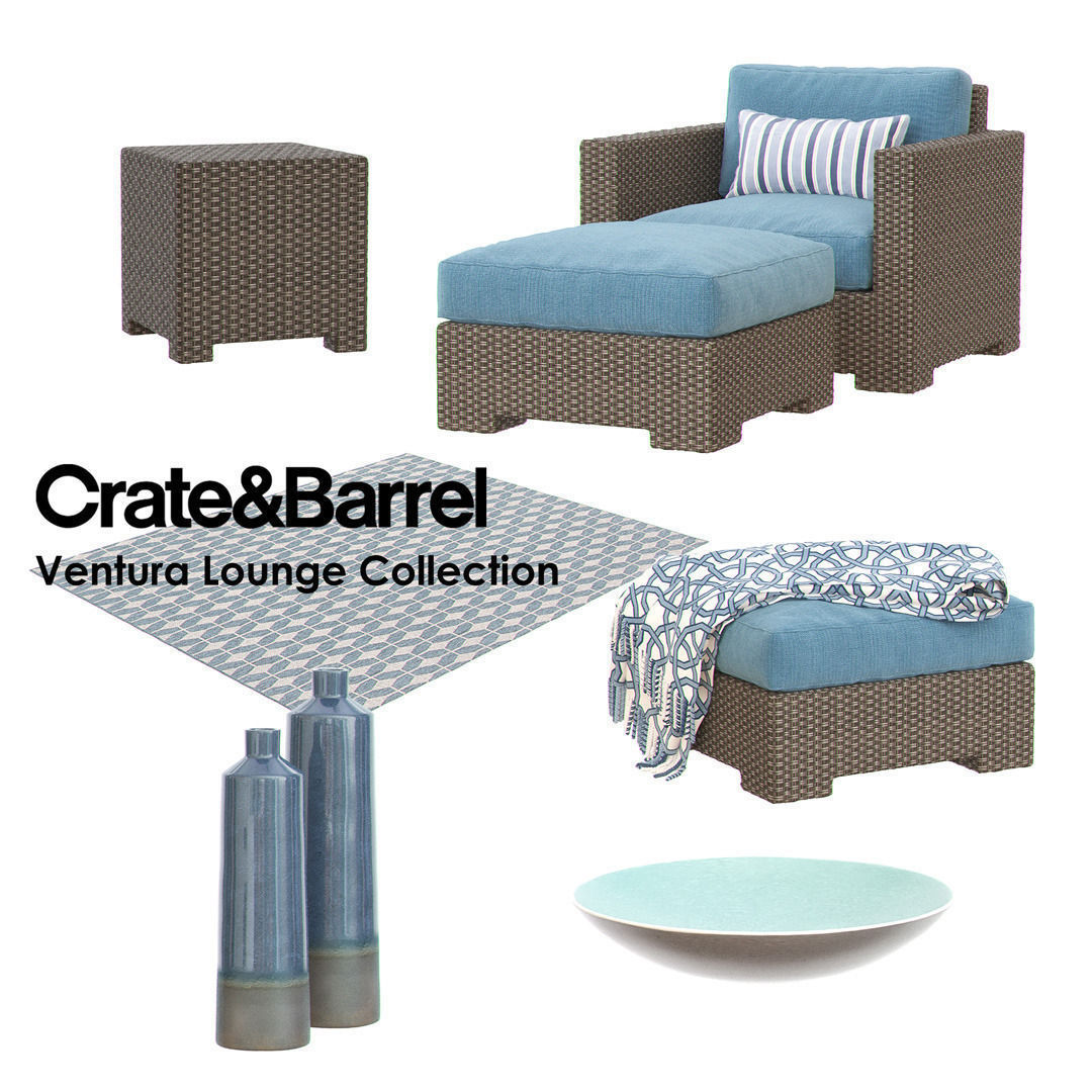 crate and barrel ventura lounge collection set ii 3d model max