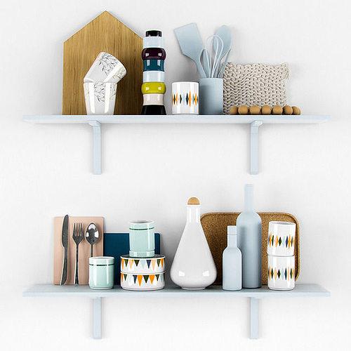Kitchen Set Scandinavian: Kitchen Scandinavian Decorative Set 3D Model